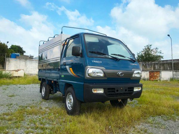phía-trước-bên-lơ-xe-tải-thaco-towner-800-thùng-bạt-xanh-dương