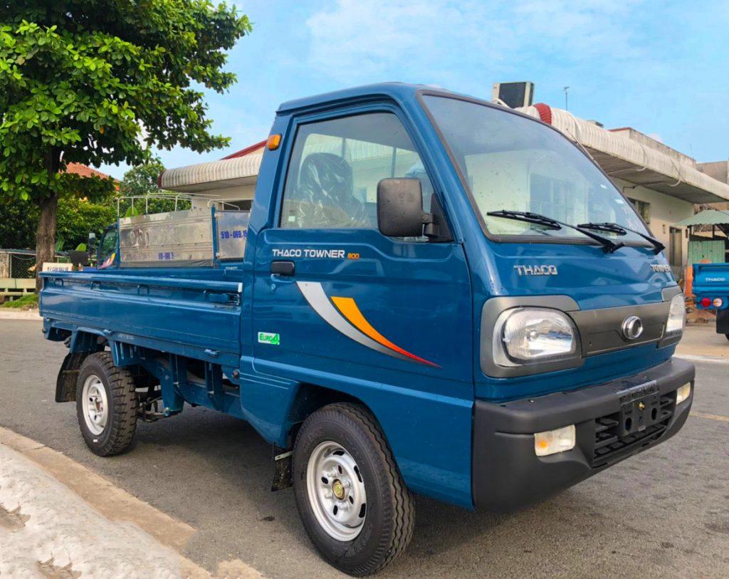 xe tải nhỏ thaco towner 800 thùng lửng màu xanh