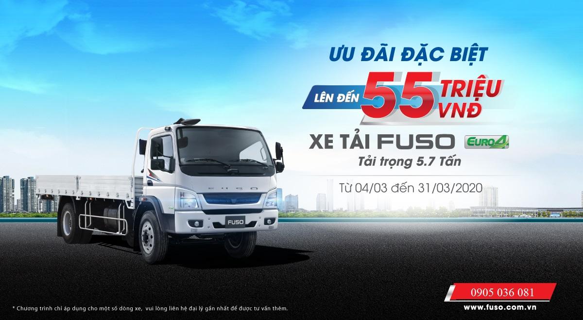 khuyến mãi 55 triệu xe tải fuso 5 tấn 7
